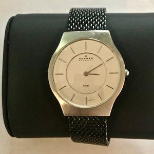 Skagen Stainless Steel Silver Black  Mesh Watch